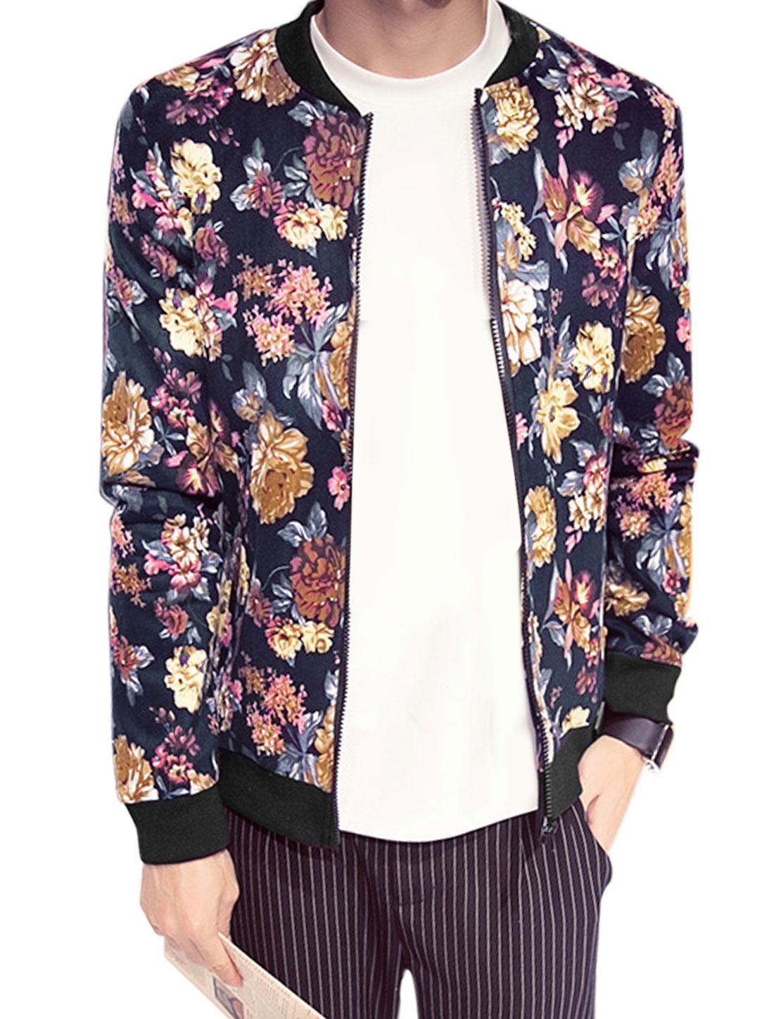 Men Zip Closure Leisure Floral Prints Jacket Navy Blue M
