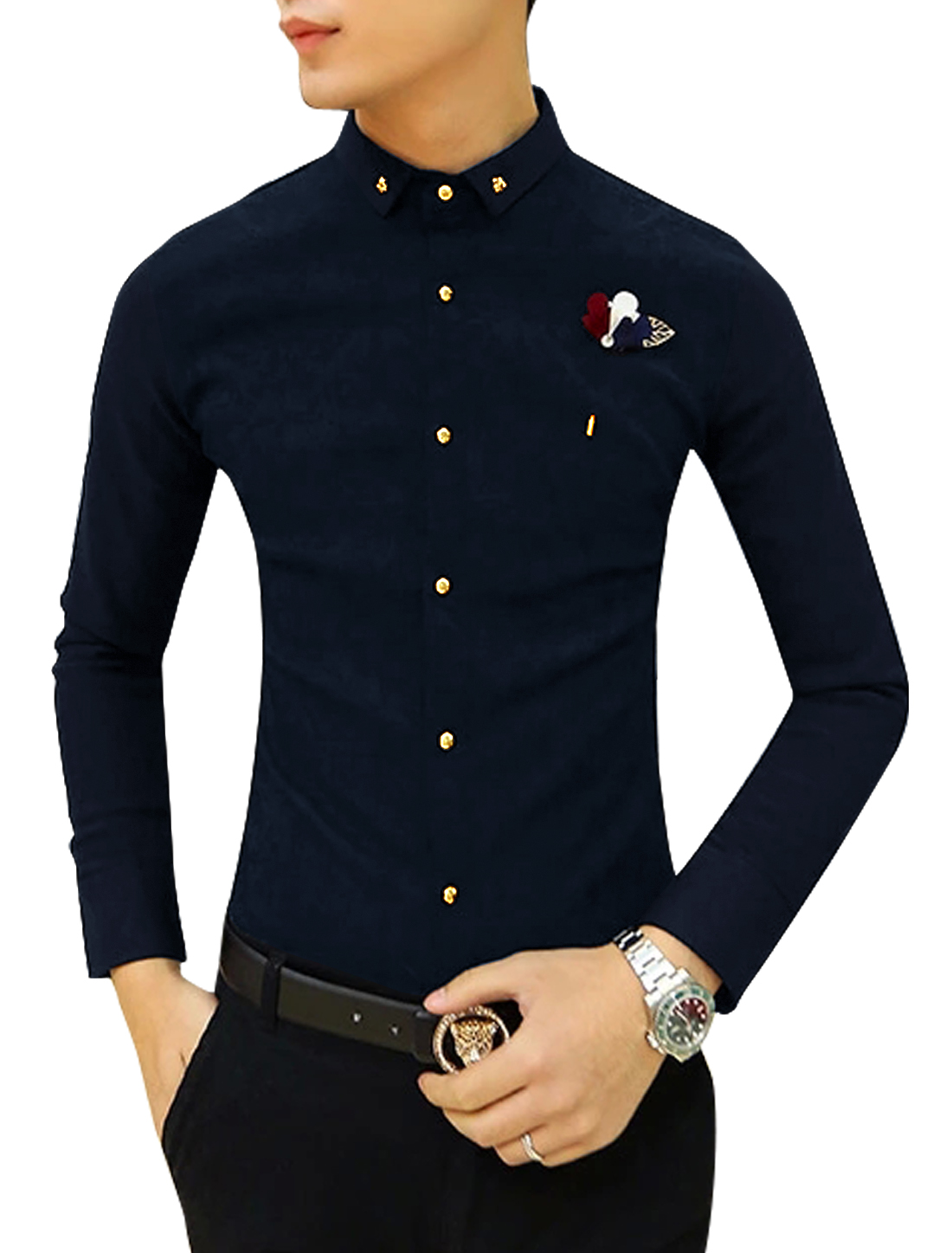 Men Point Collar Textured Long Sleeve Shirts Navy Blues S