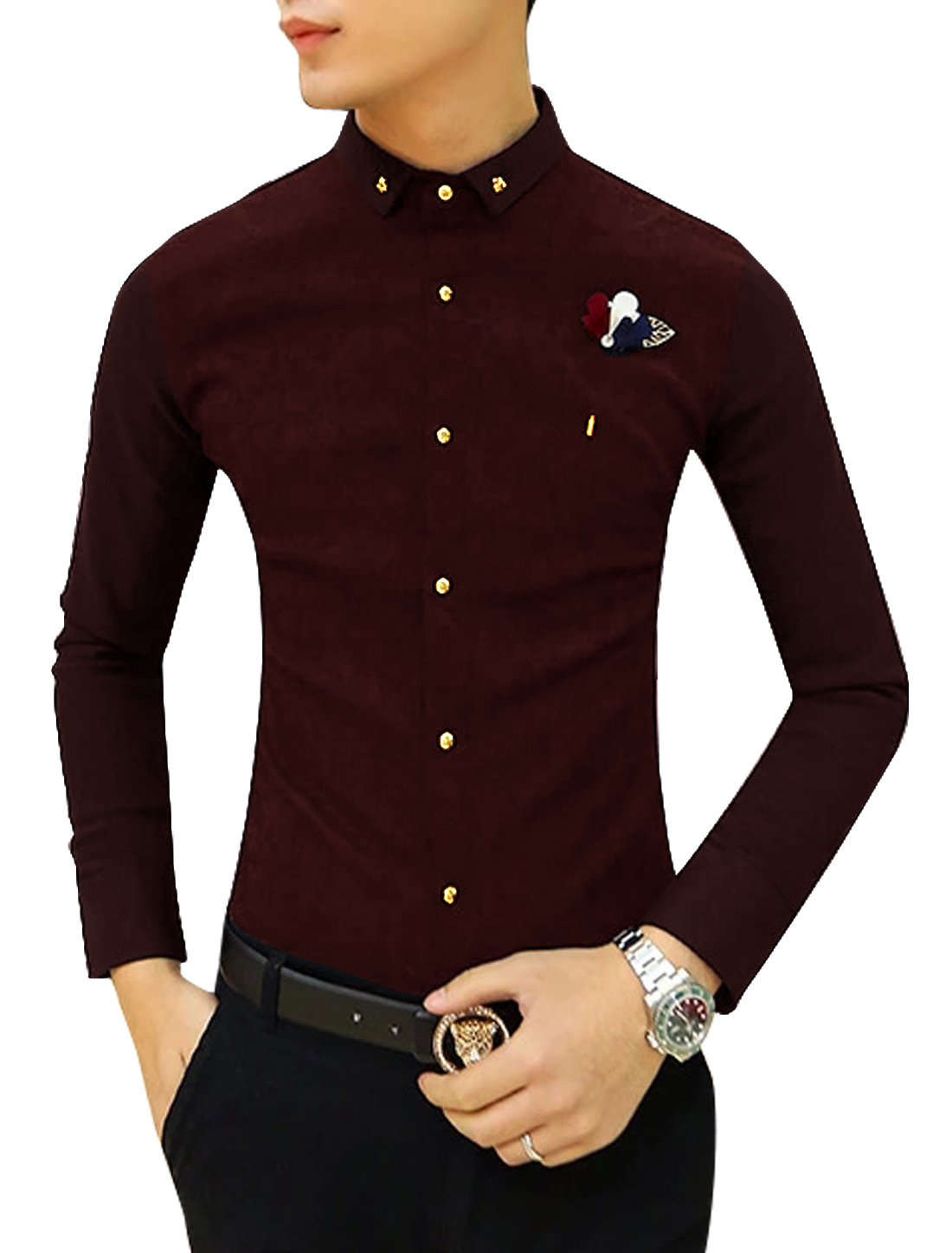 Men Single Breasted Front Textured Slim Fit Tops Burgundy S