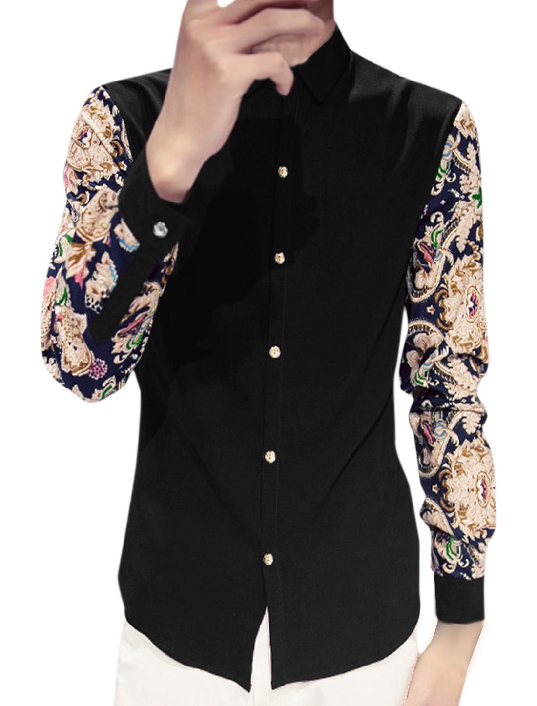 Men Long Sleeve Single Breasted Casual Shirt Black S