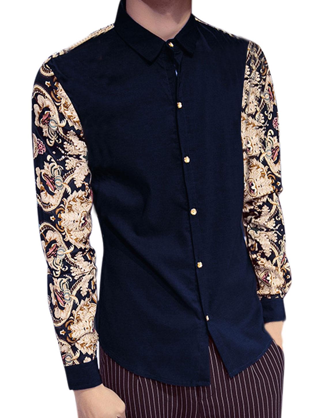 Men Slim Fit Novelty Pattern Casual Shirt Navy Blue S