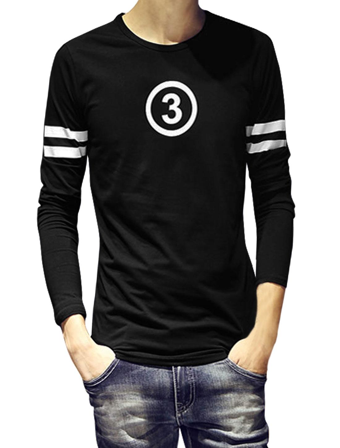Men Long Sleeve Slipover Number Printed Casual T-Shirt Black M