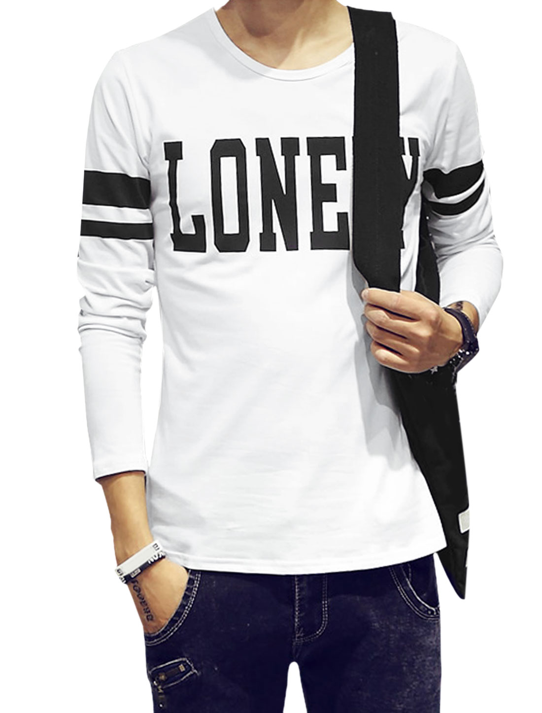 Men Letters Prints Form-Fitting Casual Tee Shirt White M