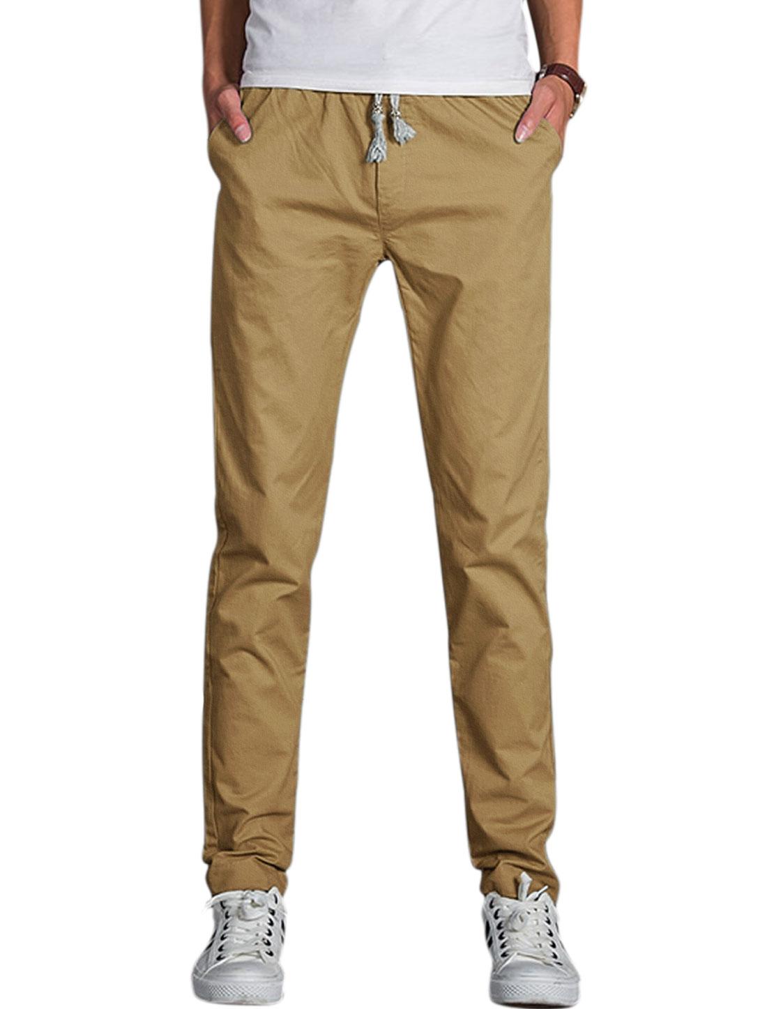 Men Elastic Waist Mid Rise Novelty Print Casual Pants Khaki W32