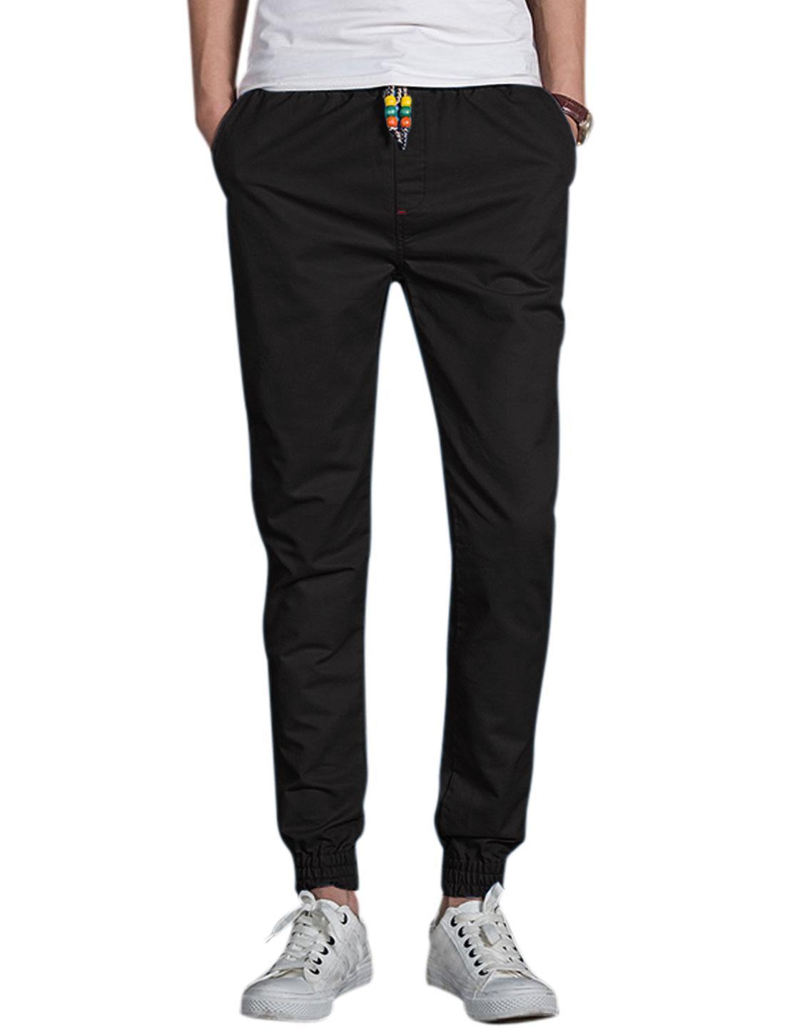 Men Elastic Waist w Cuffs Slim Fit Tapered Pants Black W32