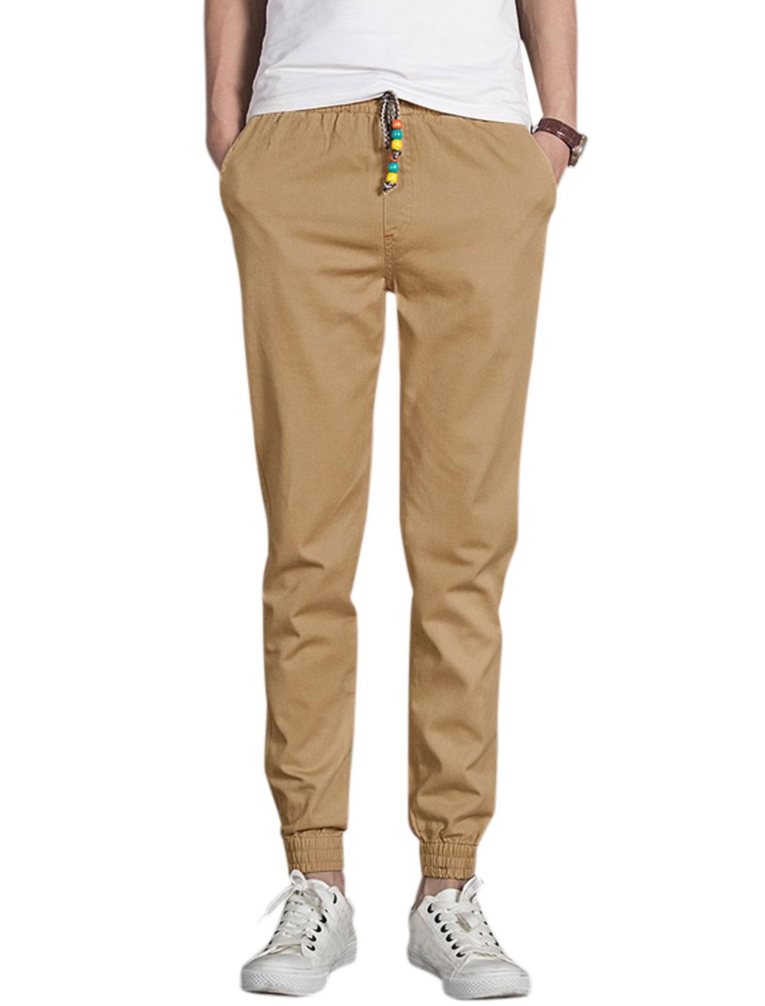 Men Drawcord Waist Mid Rise Elastic Cuffs Tapered Pants Khaki W30