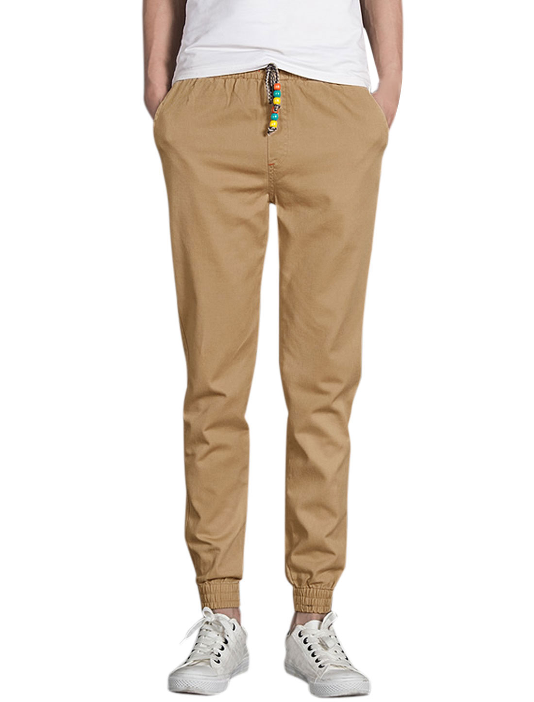 Men Elastic Waist w Cuff Slim Fit Tapered Pants Khaki W32