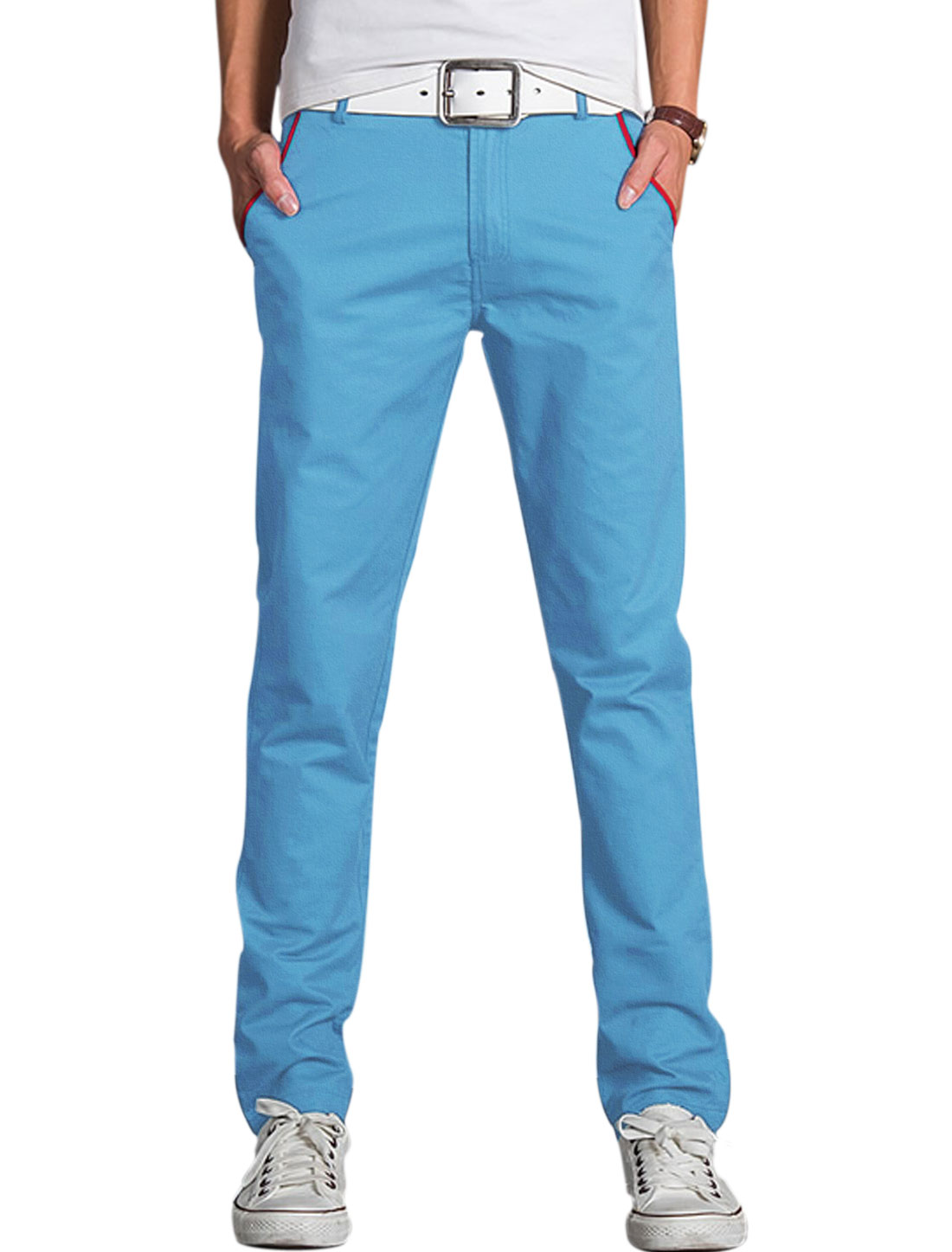 Men Two Pockets Front Slim Fit Casual Trouser Light Blue W36