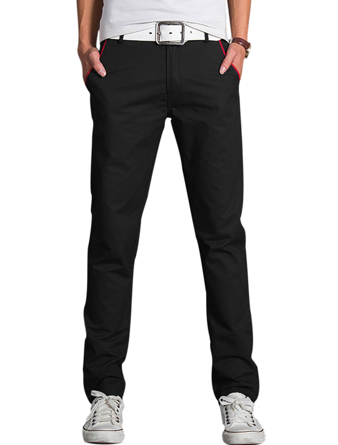 Men Mid Waist Zip Fly Contrast Color Full-Length Chinos Black W34