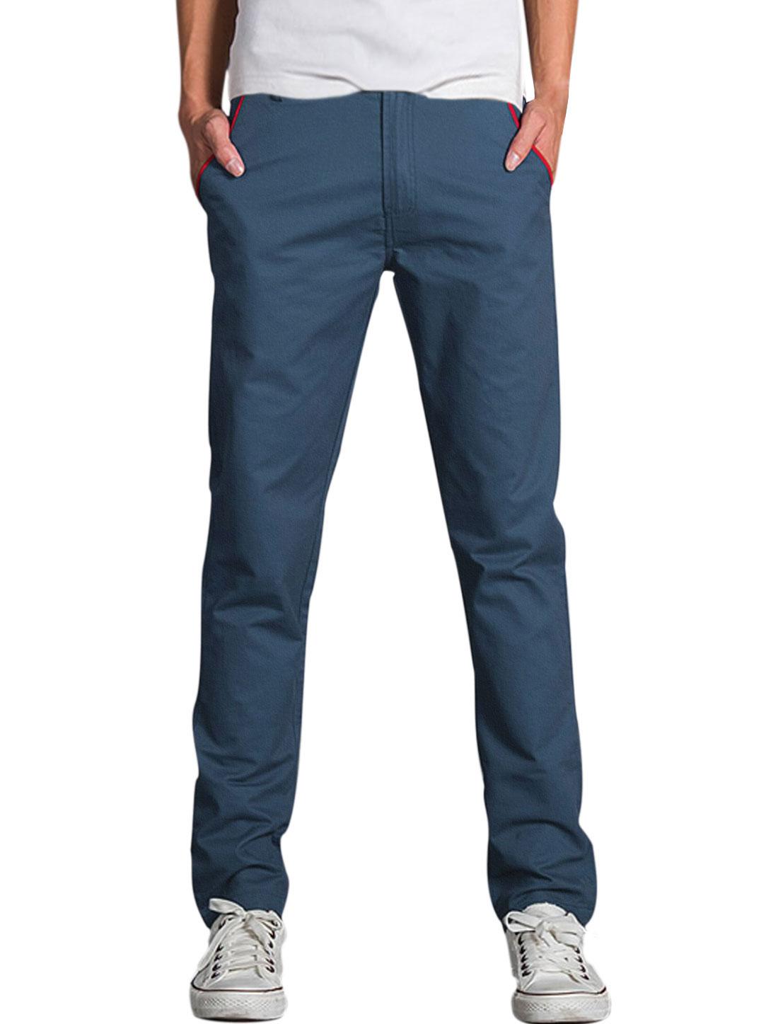 Men Mid Rise Zipper Contrast Color Casual Pants Navy Blue W38