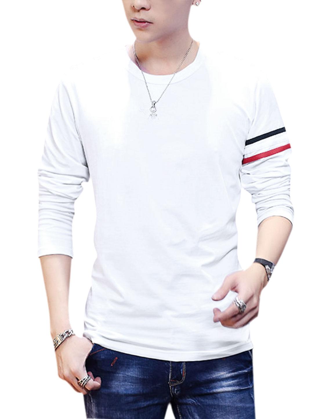 Men Long Sleeve Stripes Detail Casual Tee Shirt White M