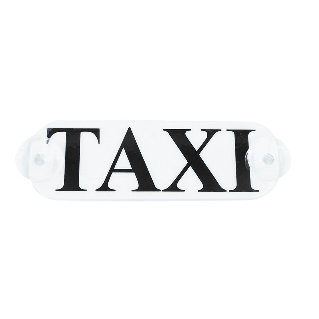 19cm x 6.5cm White Plastic Taxi Pattern Car Decorative Plate w Suction Cups