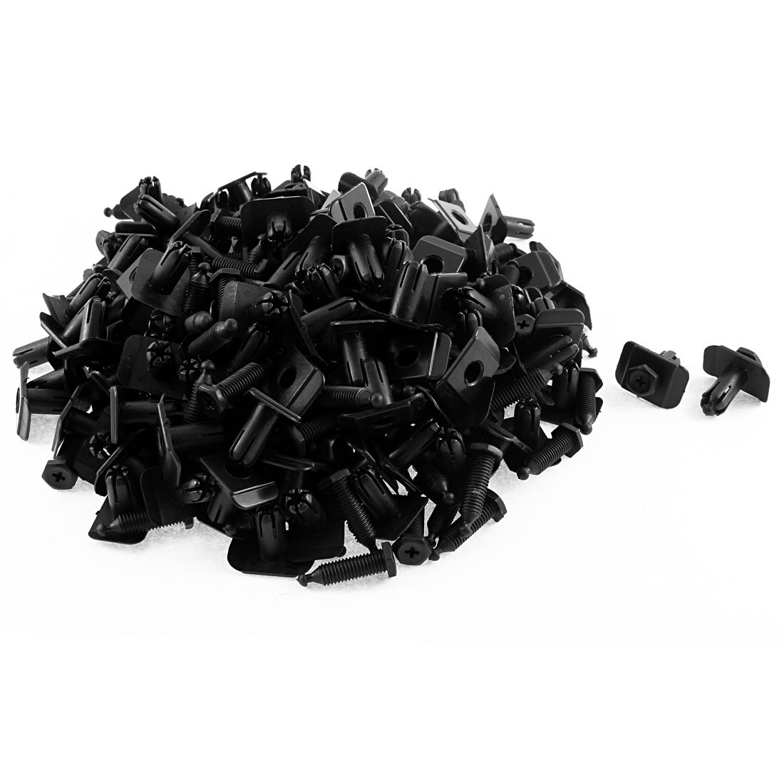 150 Pcs 10mm Hole Dia Black Plastic Splash Guard Screw Rivet Fastener Clips