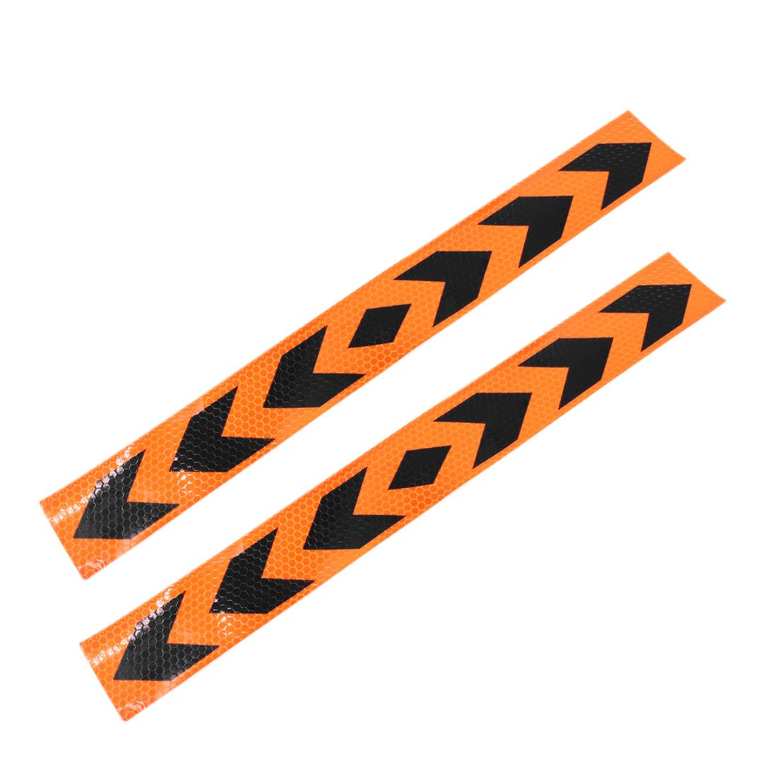 16pcs Orange Black Arrows Print Adhesive Car Reflective Sticker Strip 400mm x 54mm
