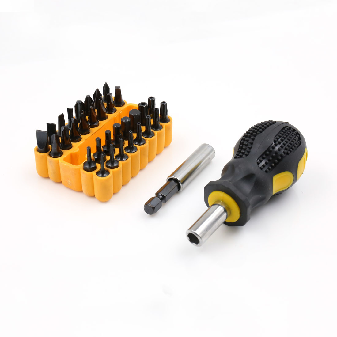 Plastic Nonslip Handle Hex Torx Slotted Phillips Screwdrivers Bits Set 34 in 1