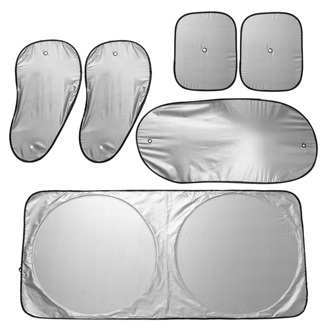 6 in 1 Foldable Car Side Window Sunshade Visor Shield Cover Set w Suction Cup
