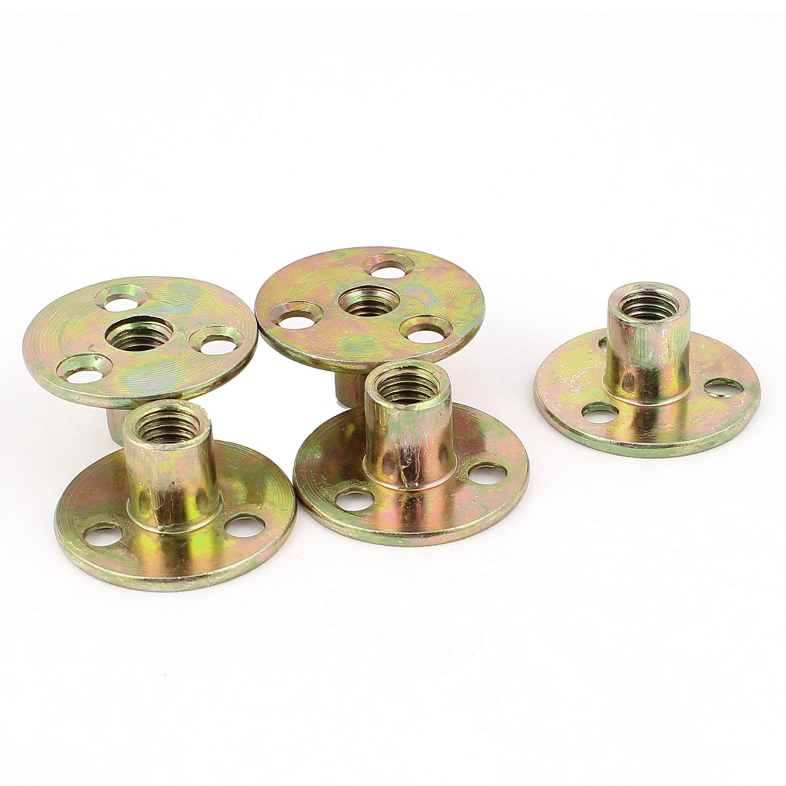 M8 Female Thread Dia Metal Brad Hole Tee Nut Fastener Brass Tone 5pcs