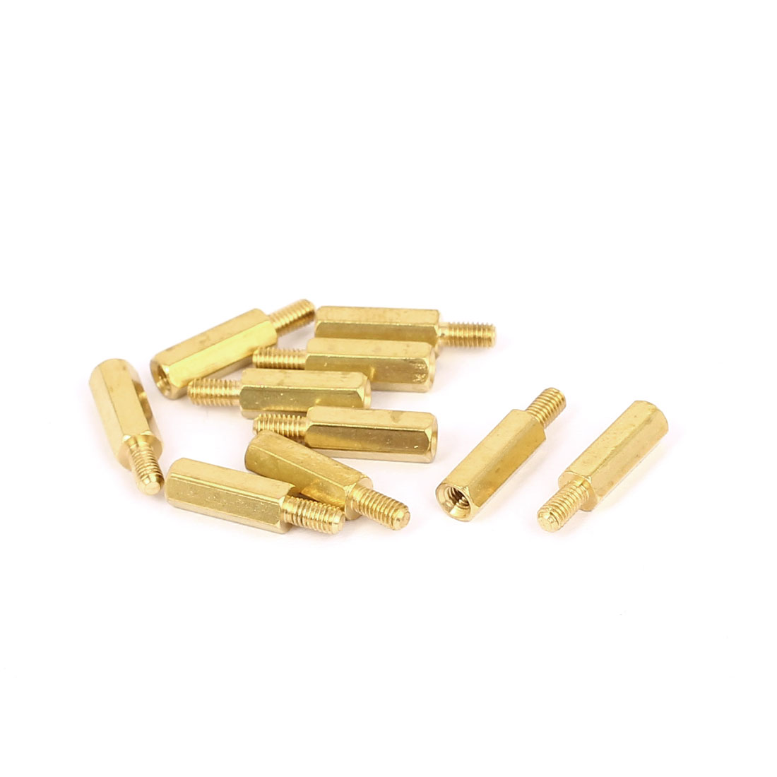 M3x13mm+6mm Male to Female Thread 0.5mm Pitch Brass Hex Standoff Spacer 10Pcs