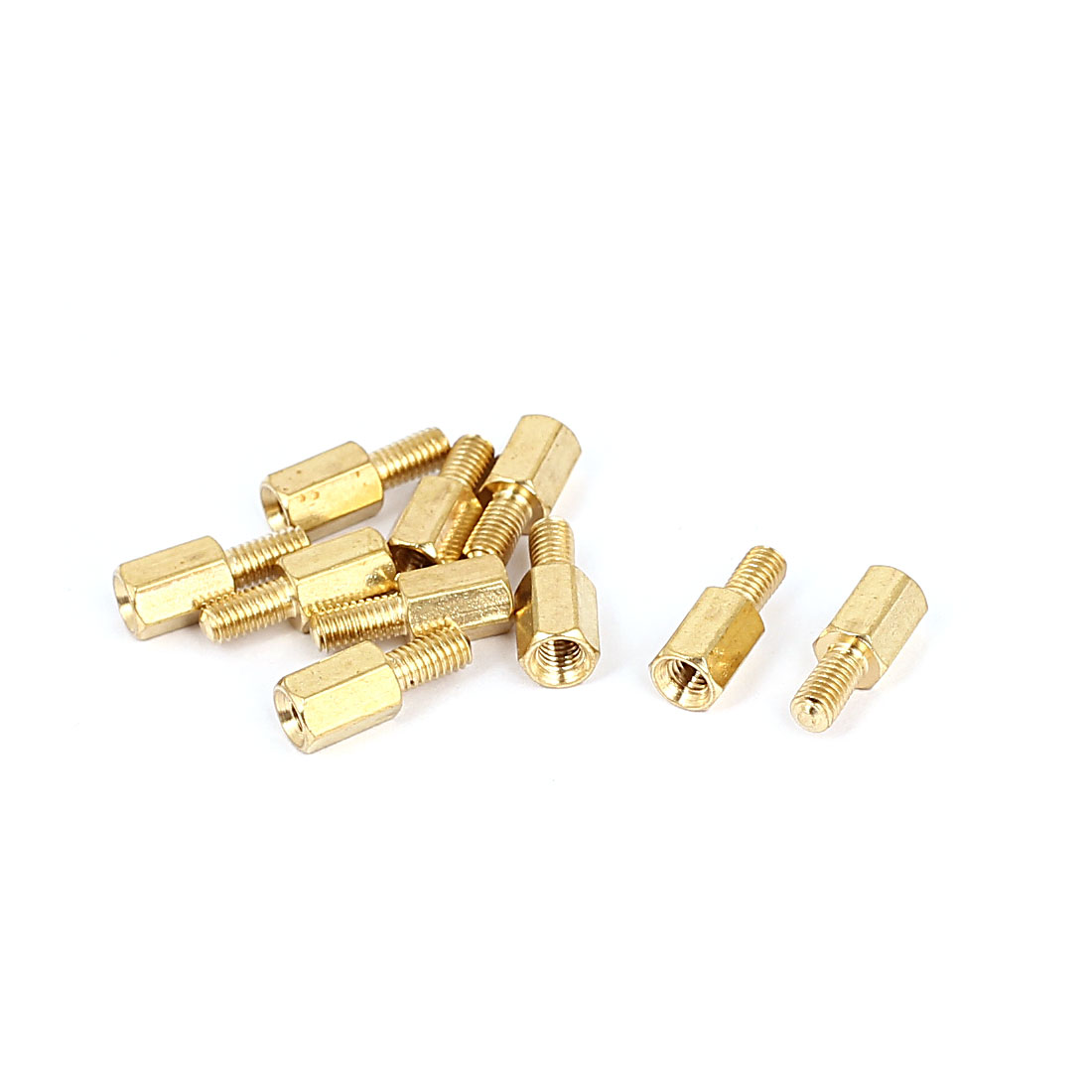 M3x7mm+6mm Male to Female Thread 0.5mm Pitch Brass Hex Standoff Spacer 10Pcs