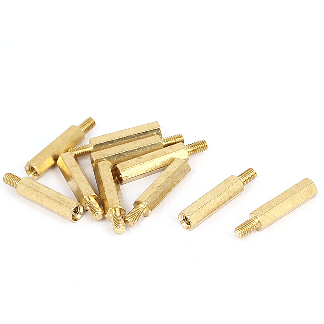 M3x17mm+6mm Male to Female Thread 0.5mm Pitch Brass Hex Standoff Spacer 10Pcs
