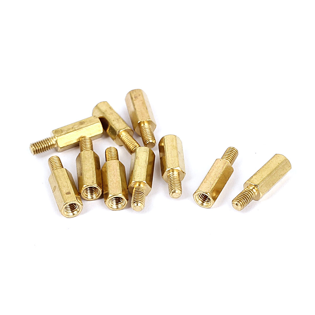 M3x11mm+6mm Male to Female Thread 0.5mm Pitch Brass Hex Standoff Spacer 10Pcs