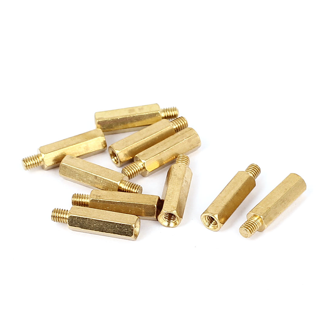 M3x14mm+4mm Male to Female Thread 0.5mm Pitch Brass Hex Standoff Spacer 10Pcs