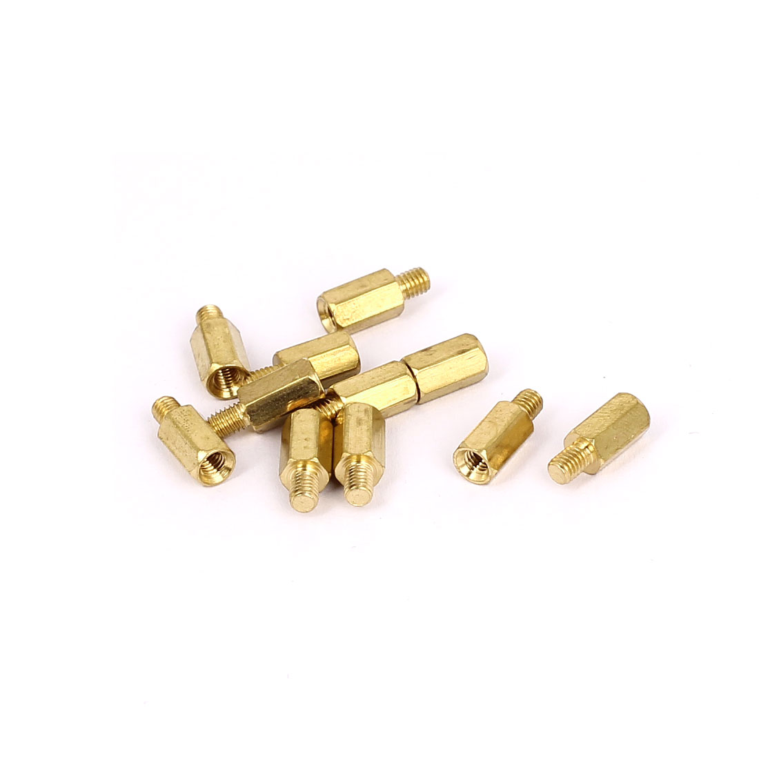 M3x8mm+4mm Male to Female Thread 0.5mm Pitch Brass Hex Standoff Spacer 10Pcs