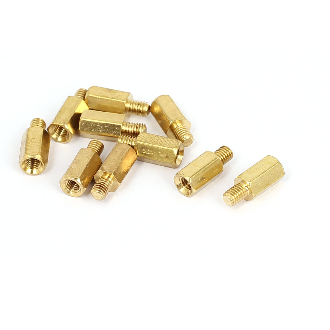 M3x7mm+4mm Male to Female Thread 0.5mm Pitch Brass Hex Standoff Spacer 10Pcs
