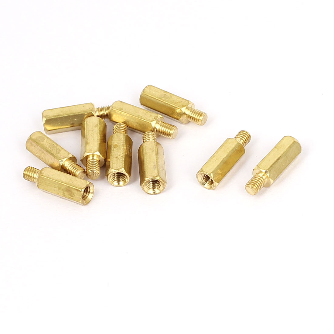 M3x11mm+4mm Male to Female Thread 0.5mm Pitch Brass Hex Standoff Spacer 10Pcs