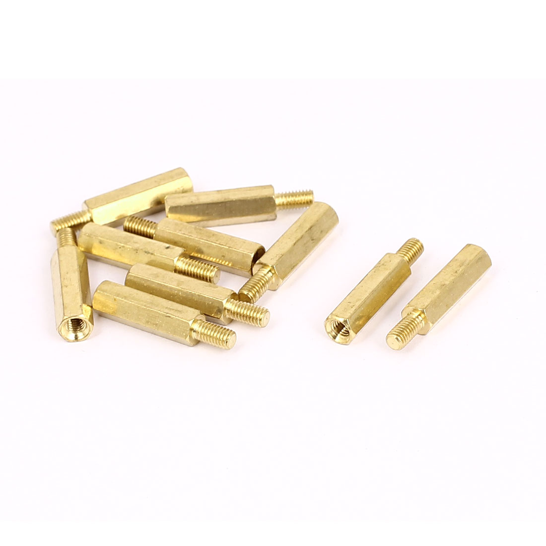 M3x16mm+6mm Male to Female Thread 0.5mm Pitch Brass Hex Standoff Spacer 10Pcs