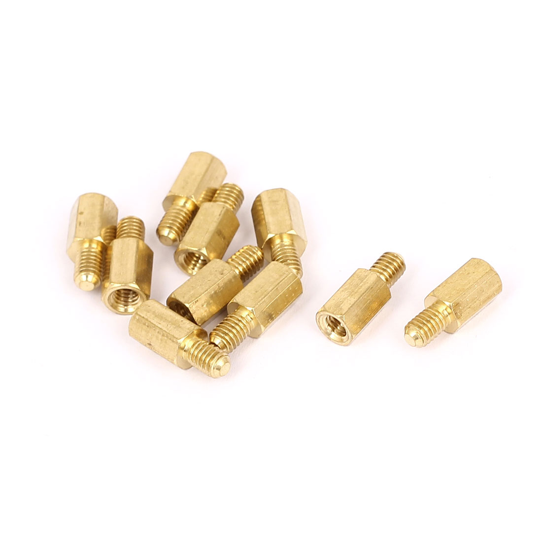 M4x9mm+6mm Male to Female Thread 0.7mm Pitch Brass Hex Standoff Spacer 10Pcs