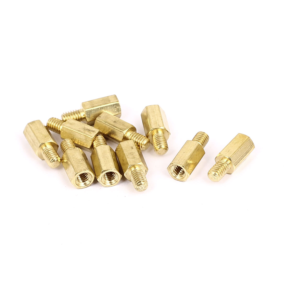 M4x10mm+6mm Male to Female Thread 0.7mm Pitch Brass Hex Standoff Spacer 10Pcs