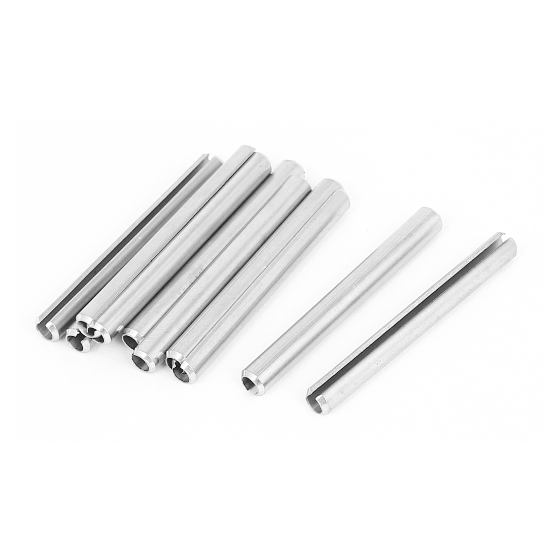 M5x50mm 304 Stainless Steel Split Spring Roll Dowel Pins Fasteners 10Pcs