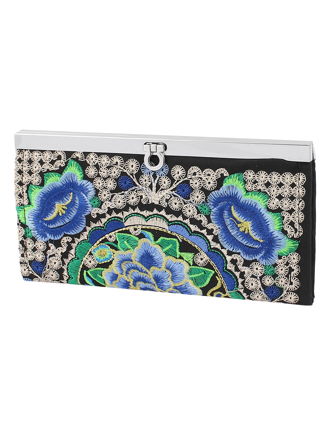 Embroider Flower Silver Plated Band Frame Clutch Purse Handbag Wallet