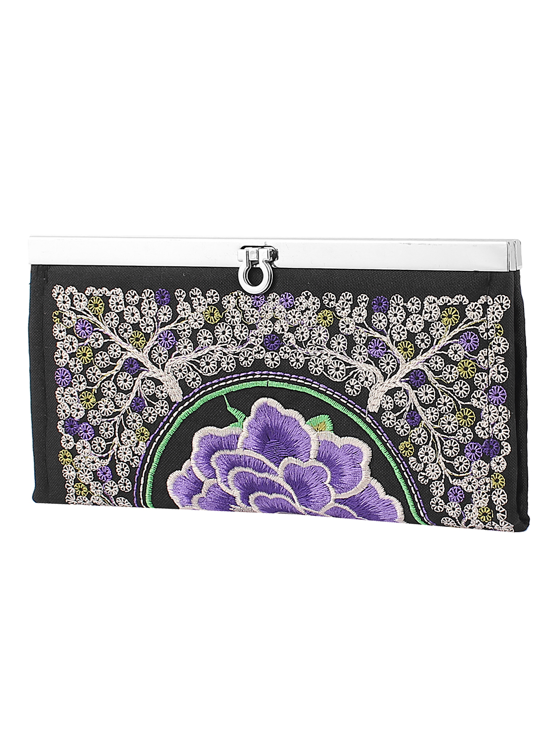 Embroidered Flower Purse Clutch Phone Coin Wallet Makeup Bag Handbag