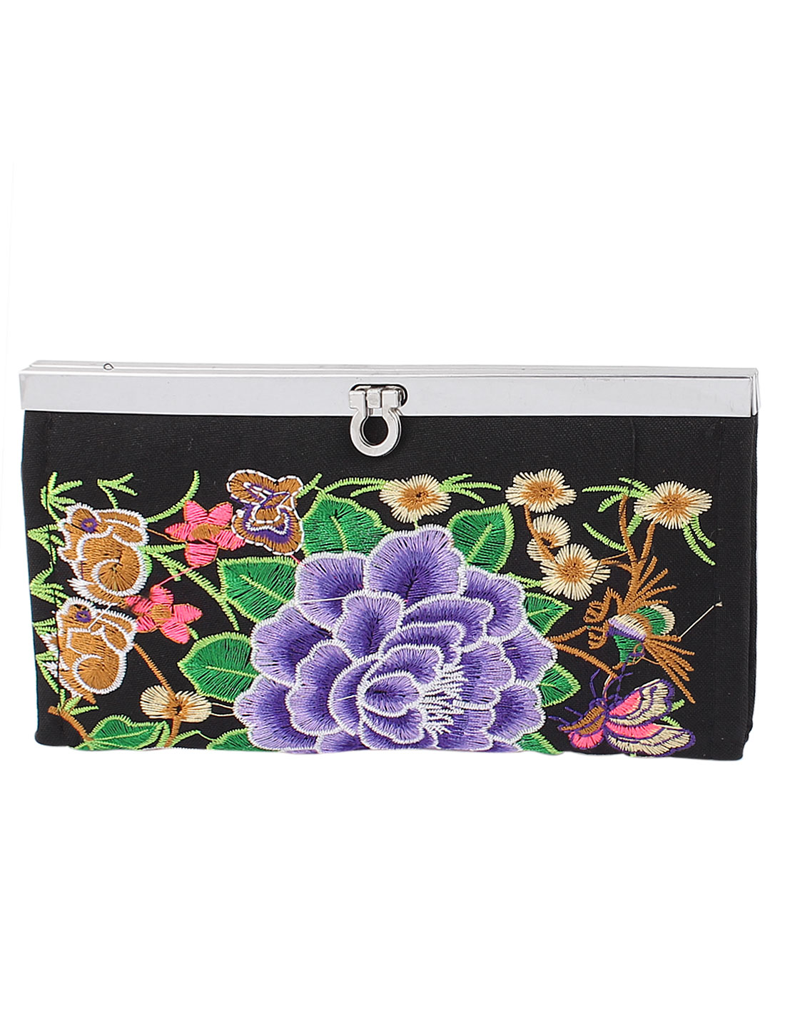 Ladies Embroider Floral Multi Compartment Flip Lock Wallet Purse Bag