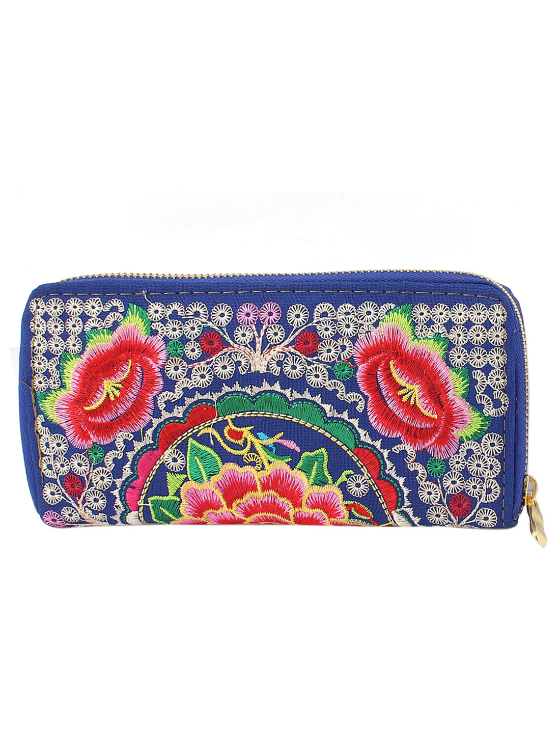 Ladies Embroidered Floral Zipped Purse Wallet Phone Change Coin Bag Clutch