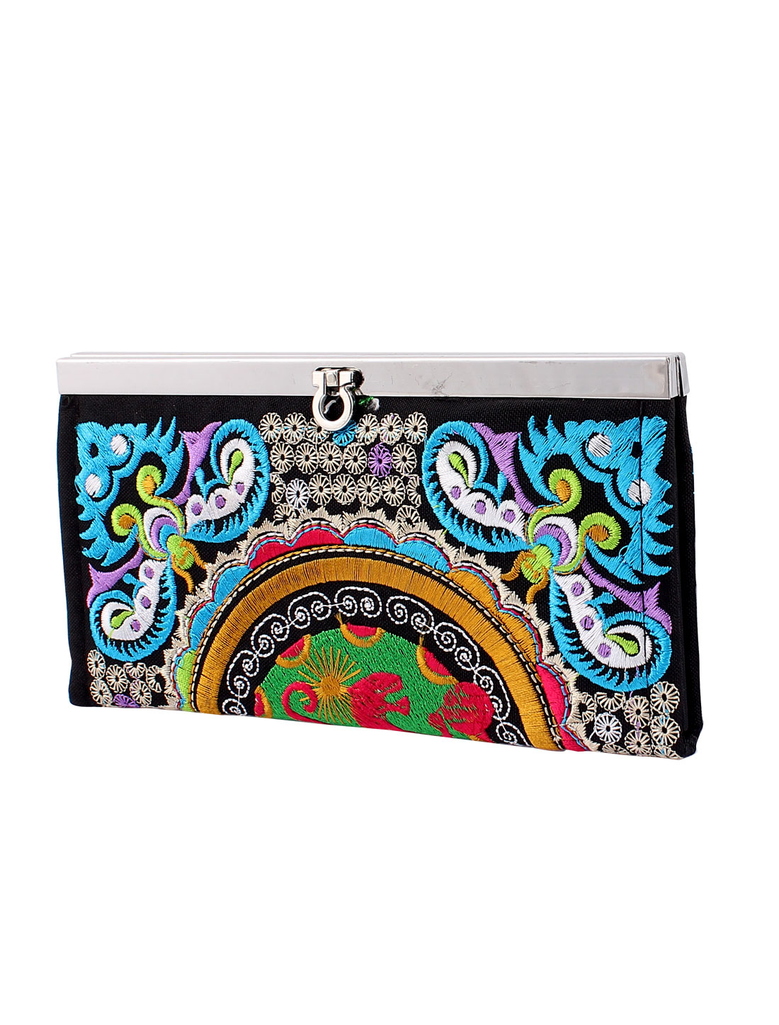 Women Embroider Floral Flip Lock Open Purse Wallet Clutch Handbag