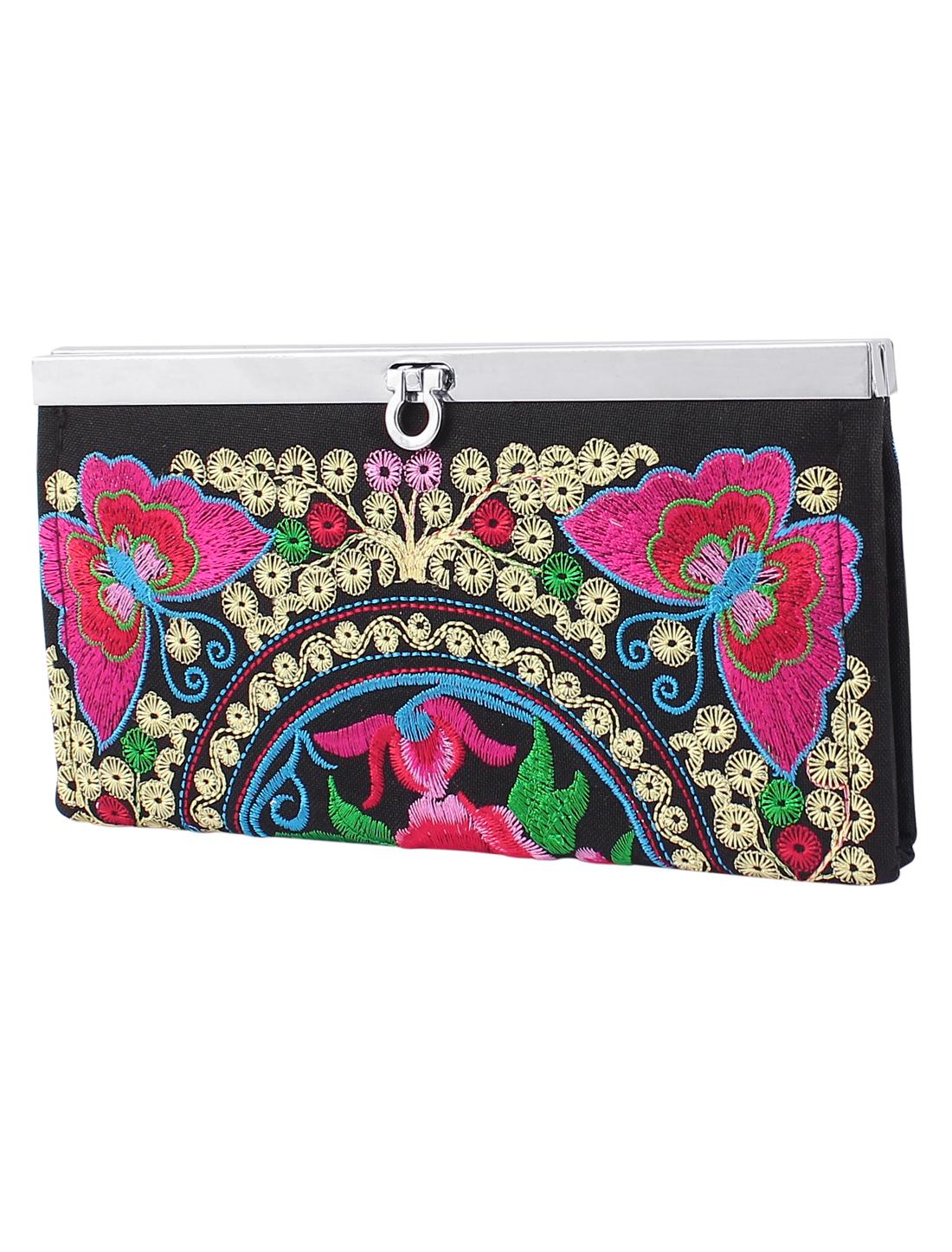 Women Embroider Flower Pattern Flip Lock Wallet Purse Clutch Handbag