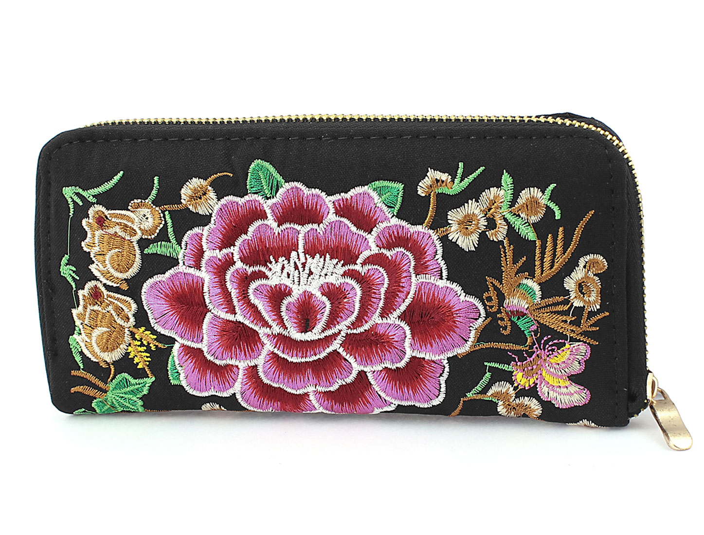 Embroidered Flowers Design Women Handbag Purse Coin Change Wallet Bag