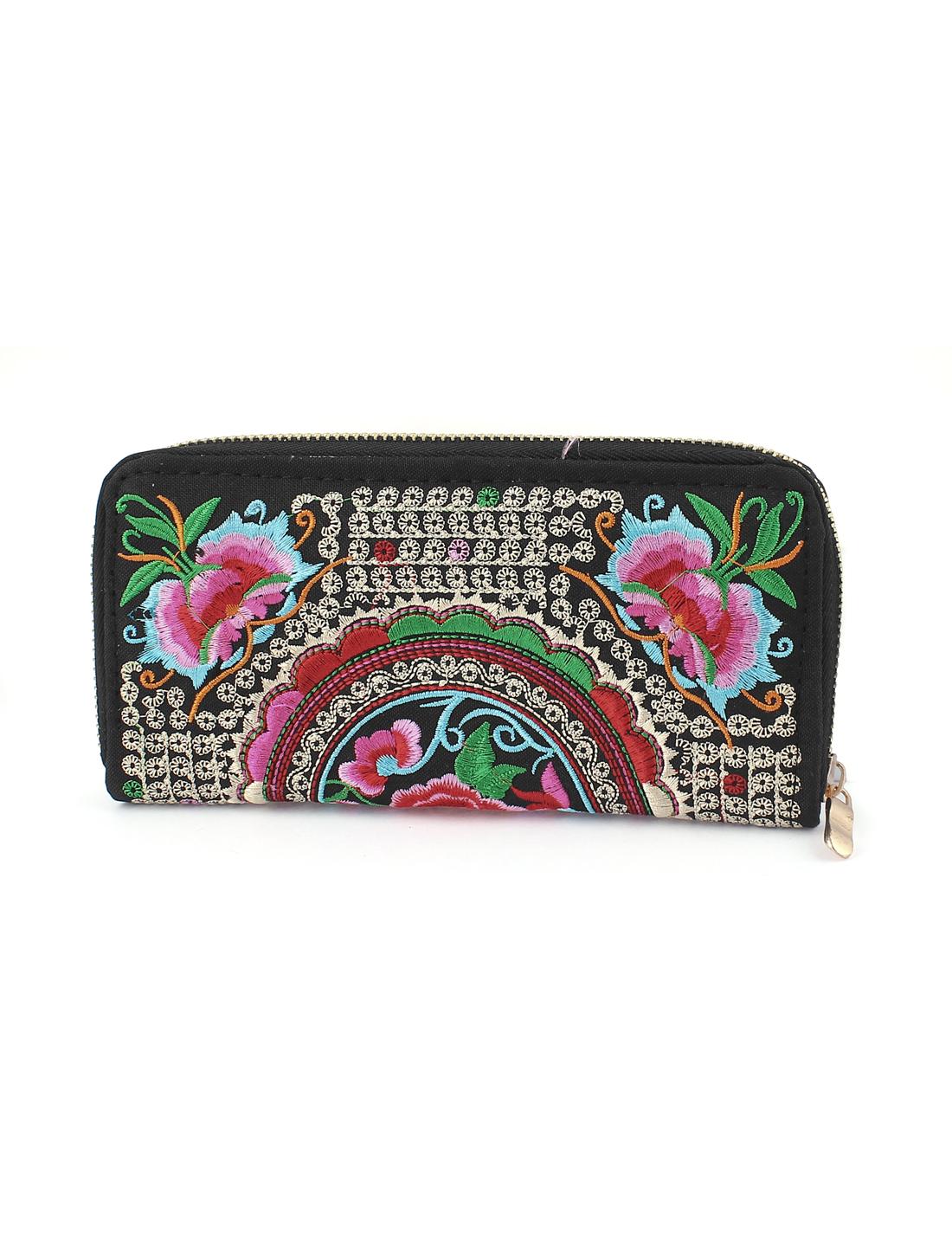 Lady Women Embroider Zip Purse Wallet Clutch Phone Coin Bag Handbag