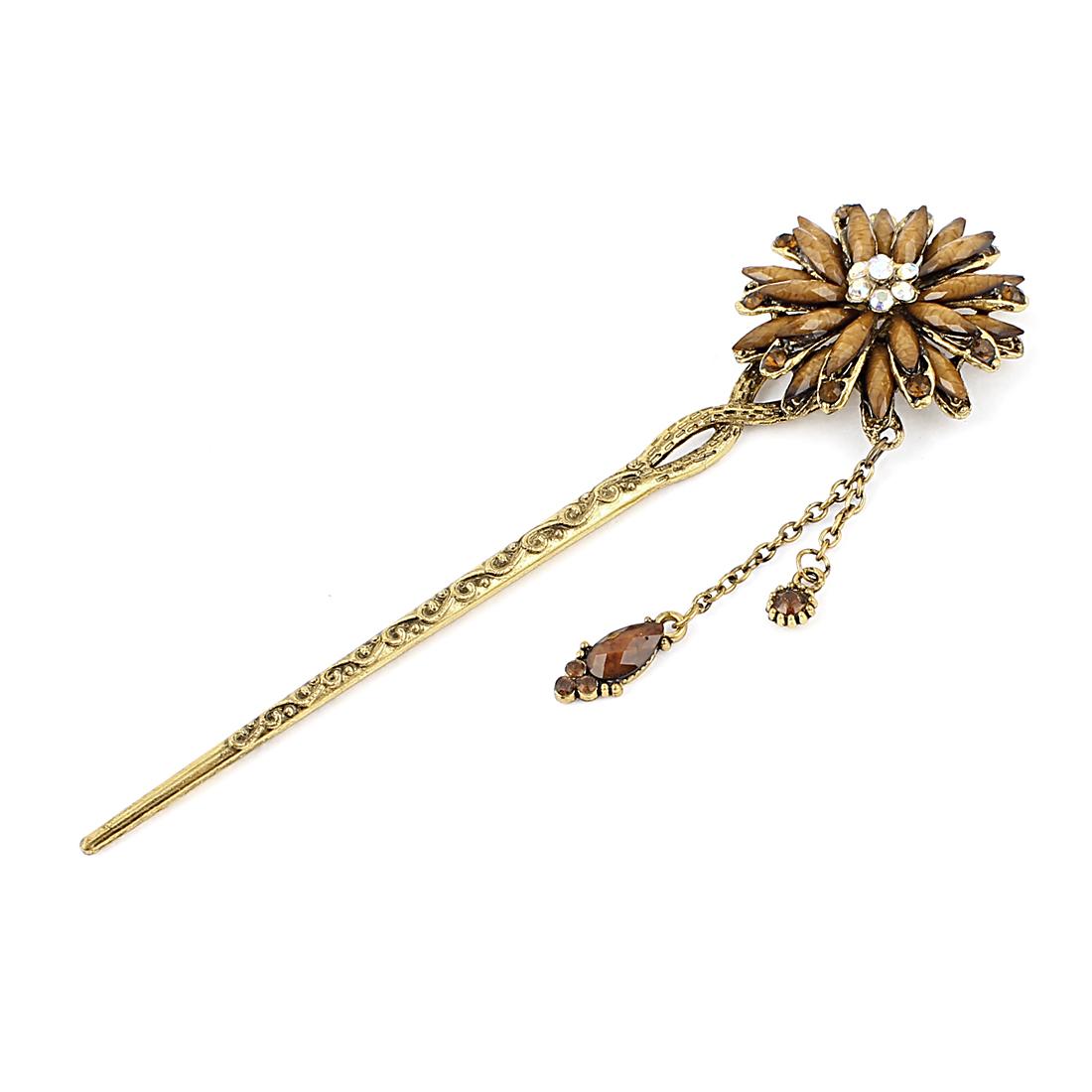 Lady Women Rhinestone Flower Hair Stick Pin Hairpin Khaki Gold Tone