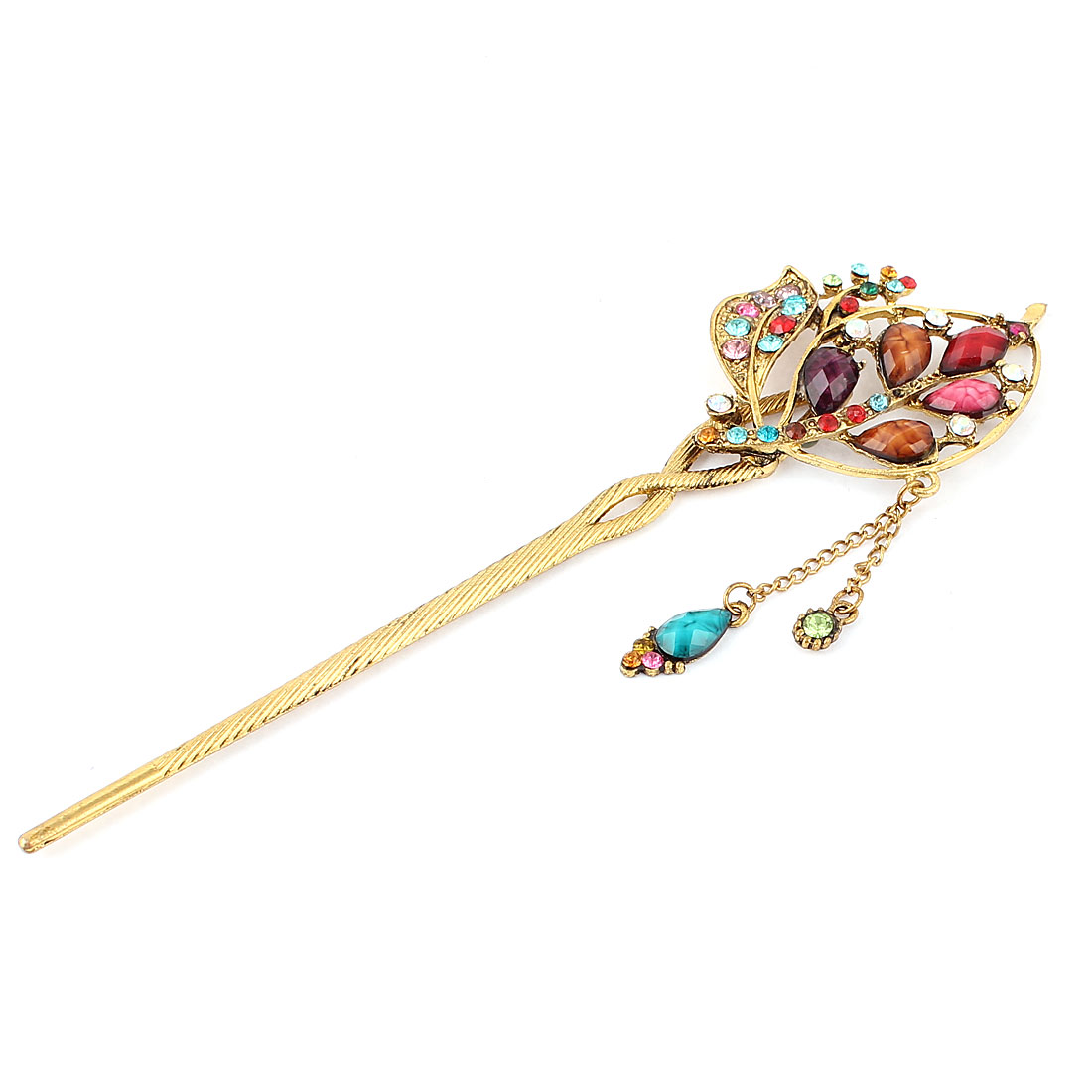 Rhinestone Decor Dangling Hairpin Hair Stick Pin Khaki Purple