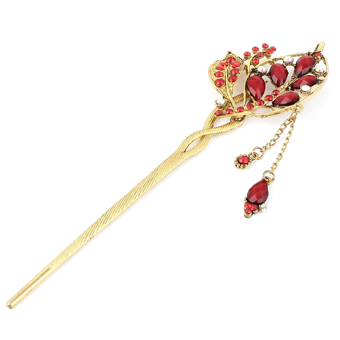 Women Rhinestone Leaf Tassel Design Hair Pin Stick Hairpin Red