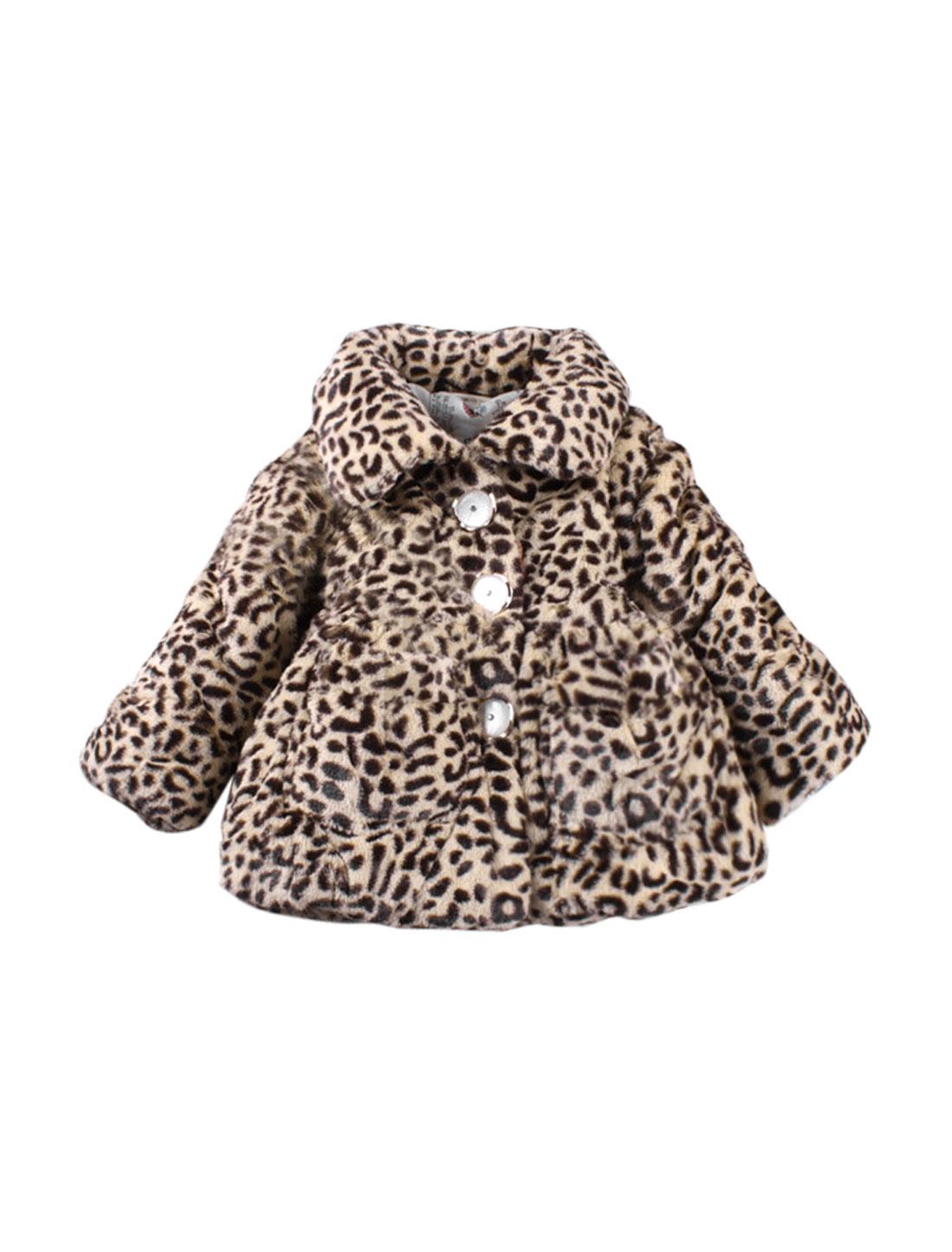 Girl Long Sleeve Leopard Print Button Down Plush Coat Allegra Kids Beige Black 7