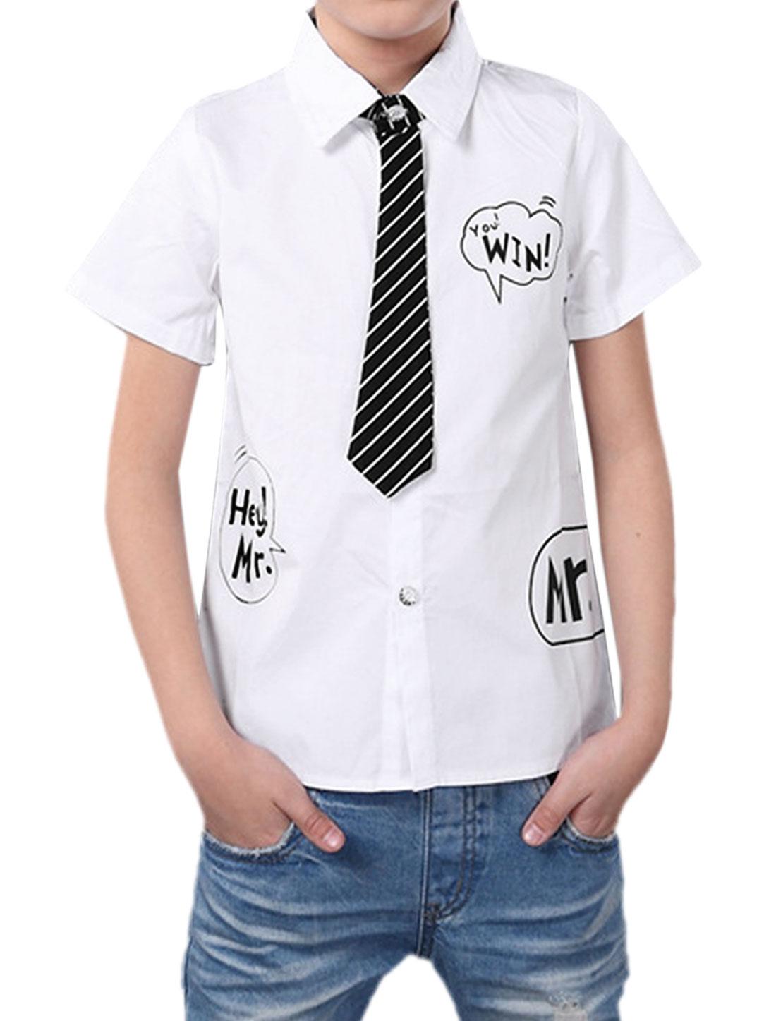 Boys Letters Prints Single Breasted Long Sleeves Shirt Allegra Kids White 12