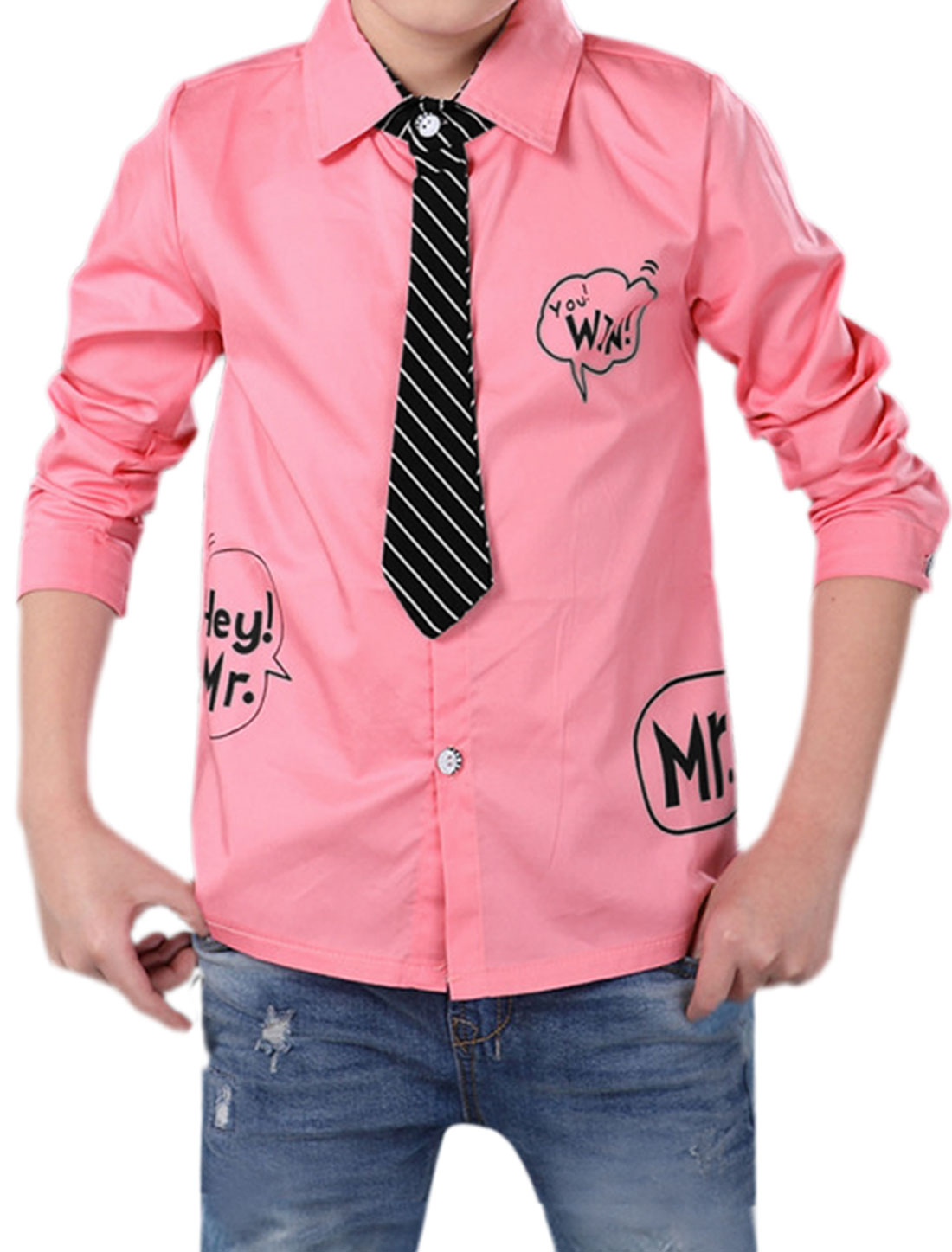 Boys Letters Prints Mock Striped Tie Point Collar Shirt Pink 8