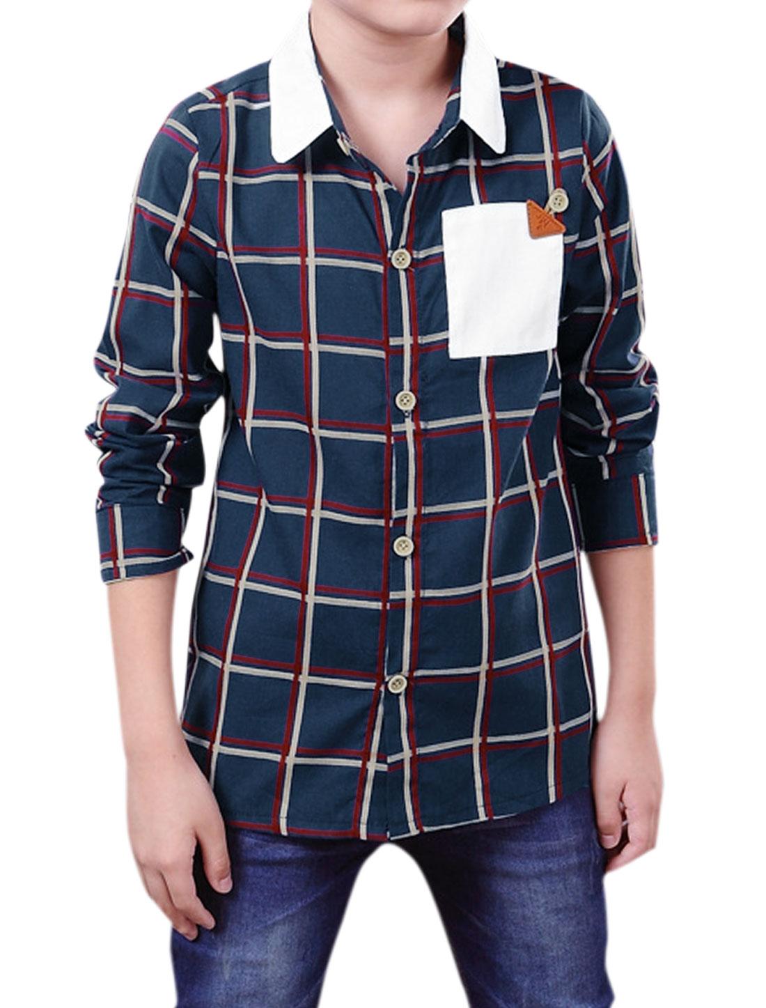 Boys Turn Down Collar Long Sleeves Plaid Shirt Navy Blue 14