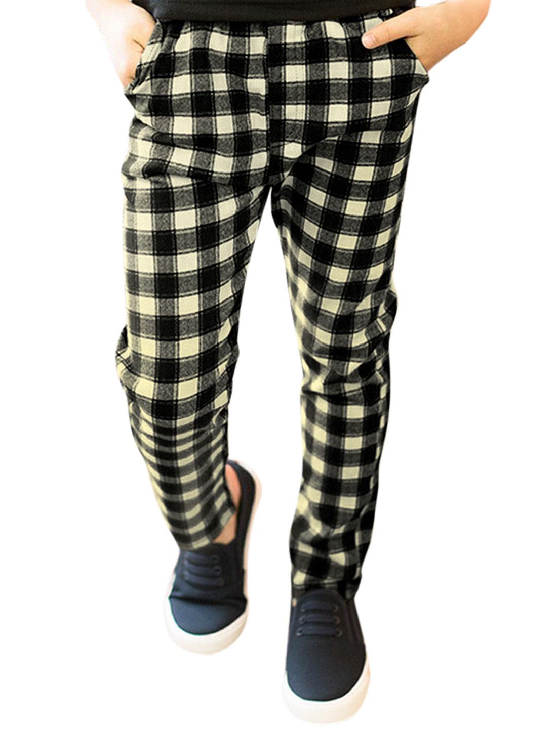Boys Elastic Waist Slim Fit Plaids Trousers Black Beige 10