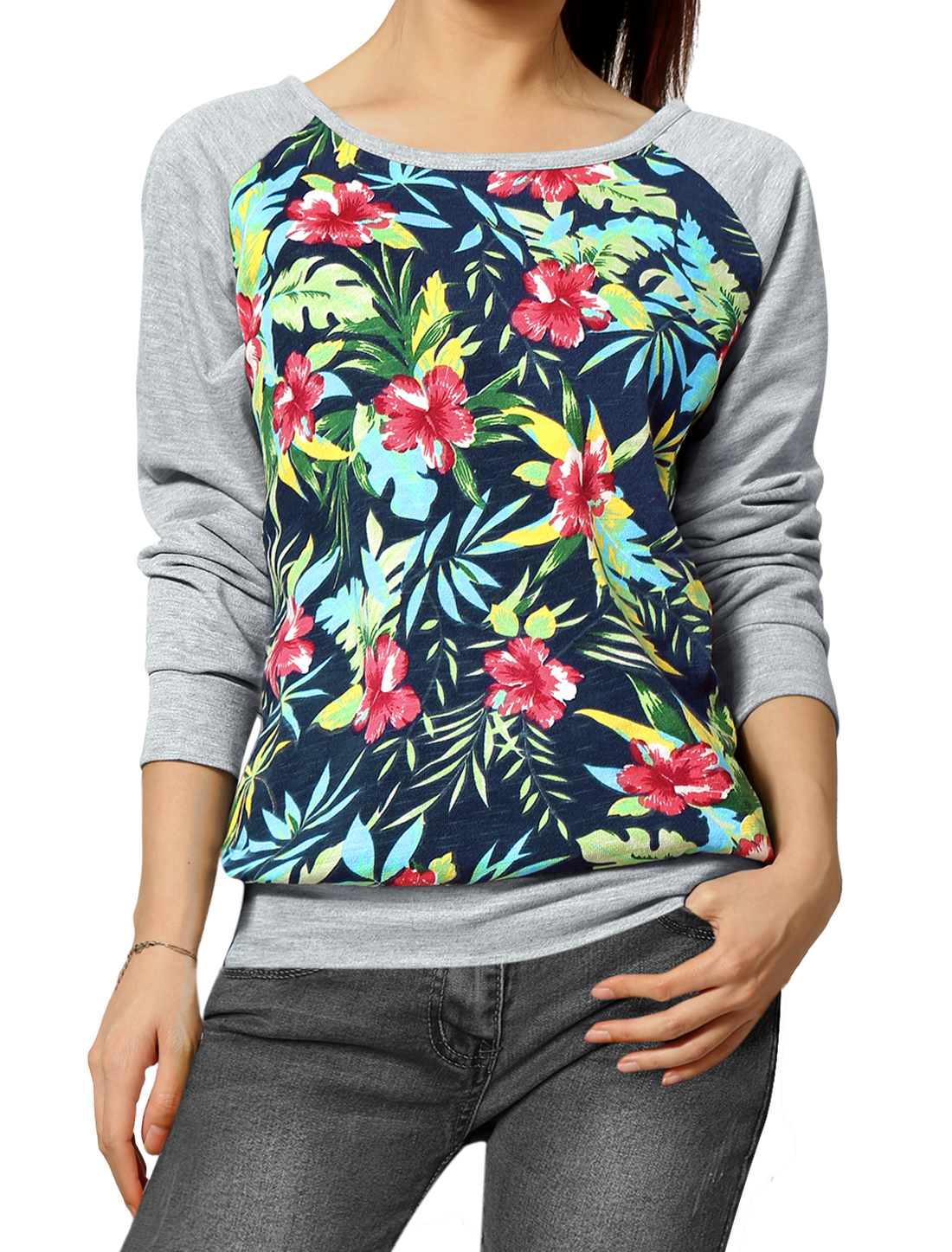 Allegra K Ladies Floral Raglan Sleeves Color Block Sweatshirt Gray Navy Blue S
